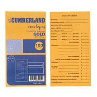 CUMBERLAND ENVELOPES PRINTED PAY 85GSM 90 X 165 GOLD PACK 100