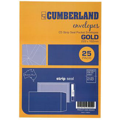 Image for CUMBERLAND C5 ENVELOPES POCKET STRIP SEAL 85GSM 162 X 229MM GOLD PACK 25 from Mackay Business Machines (MBM)