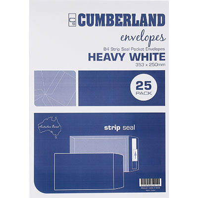 Image for CUMBERLAND B4 ENVELOPES POCKET STRIP SEAL 100GSM 353 X 250MM WHITE PACK 25 from Mackay Business Machines (MBM)