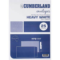 CUMBERLAND B4 ENVELOPES POCKET STRIP SEAL 100GSM 353 X 250MM WHITE PACK 25