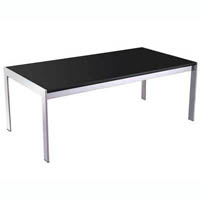 RAPID COFFEE TABLE BLACK GLASS CHROME FRAME 1200 X 600MM