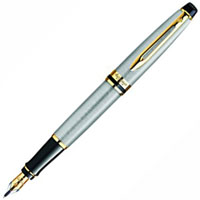 WATERMAN EXPERT FOUNTAIN PEN STAINLESS STEEL GOLD TRIM