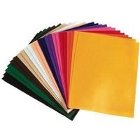 COLORIFIC FELT SQUARES 225 X 300MM ASSORTED PACK 24