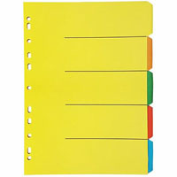 OLYMPIC DIVIDER 5-TAB A4 BRIGHT ASSORTED