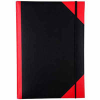 BLACK AND RED NOTEBOOK CASEBOUND RULED ELASTIC CLOSURE 200 LEAF A5