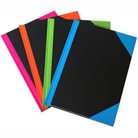 BLACK AND RED NOTEBOOK CASEBOUND RULED A-Z INDEX 192 LEAF A6 ASSORTED CORNERS