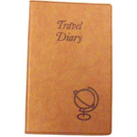 CUMBERLAND TRAVEL DIARY EMBOSSED PU COVER 170 X 100MM TAN