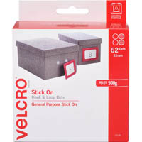 VELCRO BRAND STICK-ON HOOK AND LOOP DOTS 22MM WHITE PACK 62