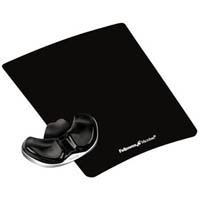 FELLOWES GLIDING PALM SUPPORT AND MOUSE PAD GEL CLEAR BLACK