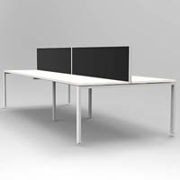 RAPID INFINITY 4 PERSON PROFILE LEG DOUBLE SIDED WORKSTATION WITH SCREEN 1500 X 700MM WHITE