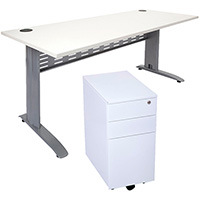 RAPID SPAN DESK PLUS SLIMLINE MOBILE PEDESTAL 1500 X 700MM WHITE
