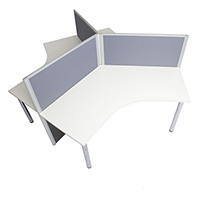 RAPID SCREEN 3 PERSON WORKSTATION 2430 X 2430 X 1250MM GREY/BLUE SCREEN WHITE TOP
