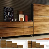 NOVARA CABINET 4 DOOR 1224 X 425 X 1750MM ZEBRANO TIMBER VENEER