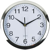 ITALPLAST CLOCK ROUND 260MM CHROME TRIM
