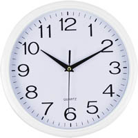 ITALPLAST CLOCK ROUND 300MM GLASS FACE WHITE TRIM