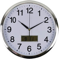 ITALPLAST CLOCK ROUND WITH LCD DISPLAY 360MM CHROME TRIM
