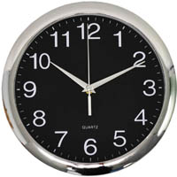 ITALPLAST WALL CLOCK 300MM CHROME/BLACK