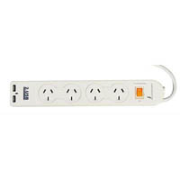 ITALPLAST POWER BOARD 4 OUTLET 2 USB WITH MASTER SWITCH WHITE