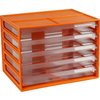 ITALPLAST DOCUMENT CABINET 5 DRAWER A4 MANDARIN