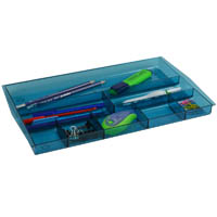 ITALPLAST DRAWER TIDY 8 COMPARTMENT TINTED BLUE