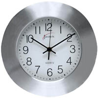 JASTEK WALL CLOCK 250MM ALUMINIUM FRAME