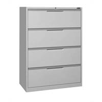 STEELCO LATERAL FILING CABINET 4 DRAWER 1320 X 915 X 463MM SILVER GREY