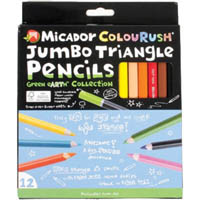 MICADOR JR COLOURUSH JUMBO TRIANGLE PENCILS WITH SHARPENER PACK 12