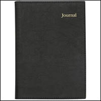 COLLINS VANESSA NOTEBOOK JOURNAL WIROBOUND LINED 200 PAGE RULED LEATHERGRAIN PVC A5 BLACK
