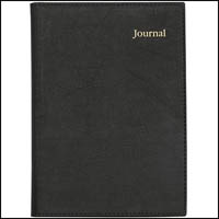 COLLINS VANESSA NOTEBOOK JOURNAL SHORT LINED WIROBOUND 200 PAGE LEATHERGRAIN PVC A4 BLACK