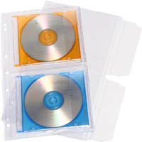 CUMBERLAND CD/DVD POCKET 2 CAPACITY WITH FLAP PVC CLEAR PACK 10