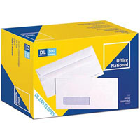 OFFICE NATIONAL DL ENVELOPES PREMIUM CORRESPONDENCE SELF SEAL WINDOW SECRETIVE 110 X 220MM WHITE BOX 500