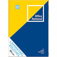 OFFICE NATIONAL LAMINATING POUCH 80 MICRON A4 CLEAR PACK 100