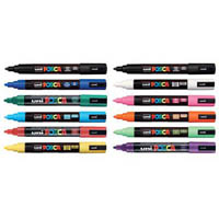 UNI PC-5M POSCA POSTER MARKER BULLET MEDIUM 2.5MM ASSORTED BOX 12
