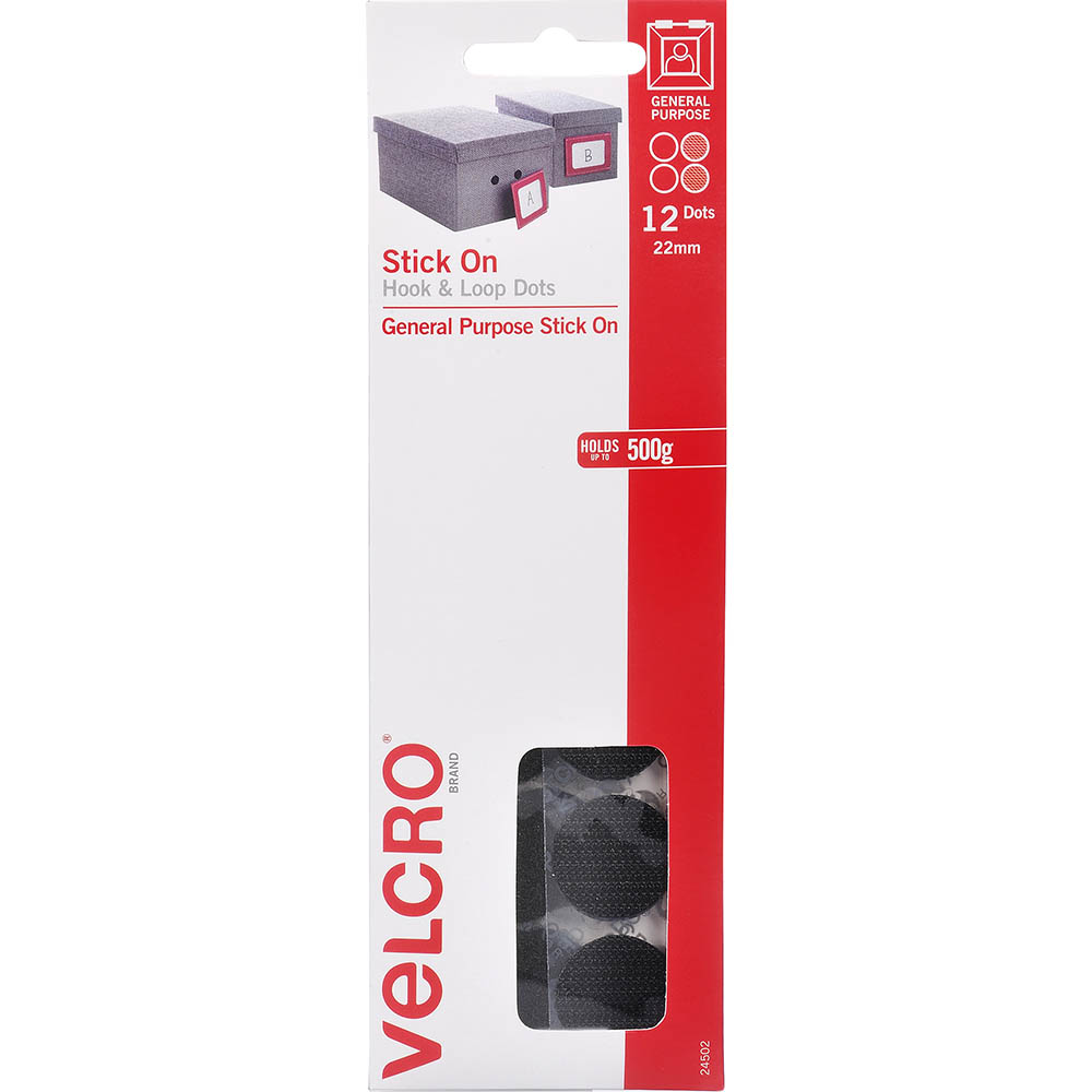 Image for VELCRO BRAND STICK-ON HOOK AND LOOP DOTS 22MM BLACK PACK 12 from Axsel Office National