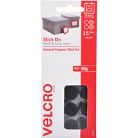 VELCRO BRAND STICK-ON HOOK AND LOOP DOTS 16MM BLACK PACK 15