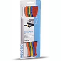 VELCRO BRAND ONE-WRAP REUSABLE TIES 25MM X 200M ASSORTED PACK 5