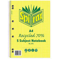 SPIRAX 815 5-SUBJECT NOTEBOOK 70% RECYCLED SPIRAL BOUND 250 PAGE A4
