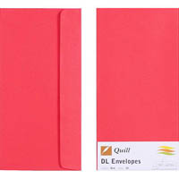 QUILL DL COLOURED ENVELOPES PLAINFACE STRIP SEAL 80GSM 110 X 220MM RED PACK 25