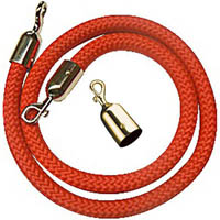 Q NYLON ROPE 25MM BRASS SNAP ENDS 1.5M RED