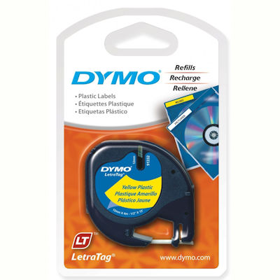 Image for DYMO 91332 LETRATAG PLASTIC LABELLING TAPE 12MM BLACK ON YELLOW from Axsel Office National