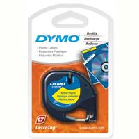 DYMO LETRATAG PLASTIC LABEL TAPE 12MM BLACK ON YELLOW