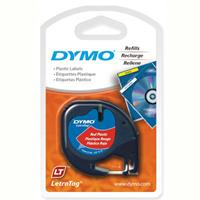 DYMO LETRATAG PLASTIC LABEL TAPE 12MM X 4M COSMIC RED