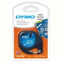 DYMO LETRATAG PLASTIC LABEL TAPE 12MM X 4M ULTRA BLUE