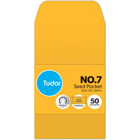 TUDOR NO.7 POCKET ENVELOPES PRESS SEAL 145 X 90MM GOLD PACK 50