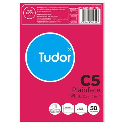 Image for TUDOR C5 ENVELOPES POCKET PEEL N SEAL 80GSM 162 X 229MM WHITE PACK 50 from Mackay Business Machines (MBM)