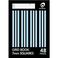 OLYMPIC STRIPE GRID BOOK STAPLED 48 PAGE 55GSM 7MM GRID A4
