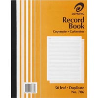 OLYMPIC 706 RECORD BOOK CARBONLESS DUPLICATE 50 LEAF 250 X 200MM
