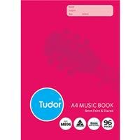 TUDOR M896 MUSIC BOOK FEINT AND STAVED 8MM 96 PAGES 225 X 175MM