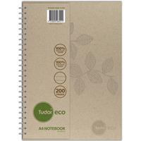 TUDOR ECO RECYCLED NOTEBOOK 8MM RULED 70GSM 200 PAGE A4 NATURAL
