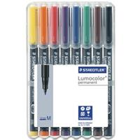 STAEDTLER 317 LUMOCOLOR PERMANENT MARKER BULLET 1.0MM ASSORTED WALLET 8